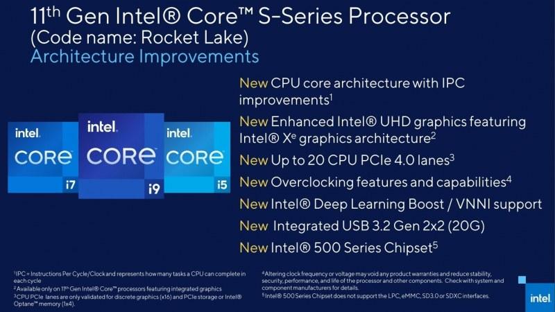 Intel Rocket Lake spec sheet